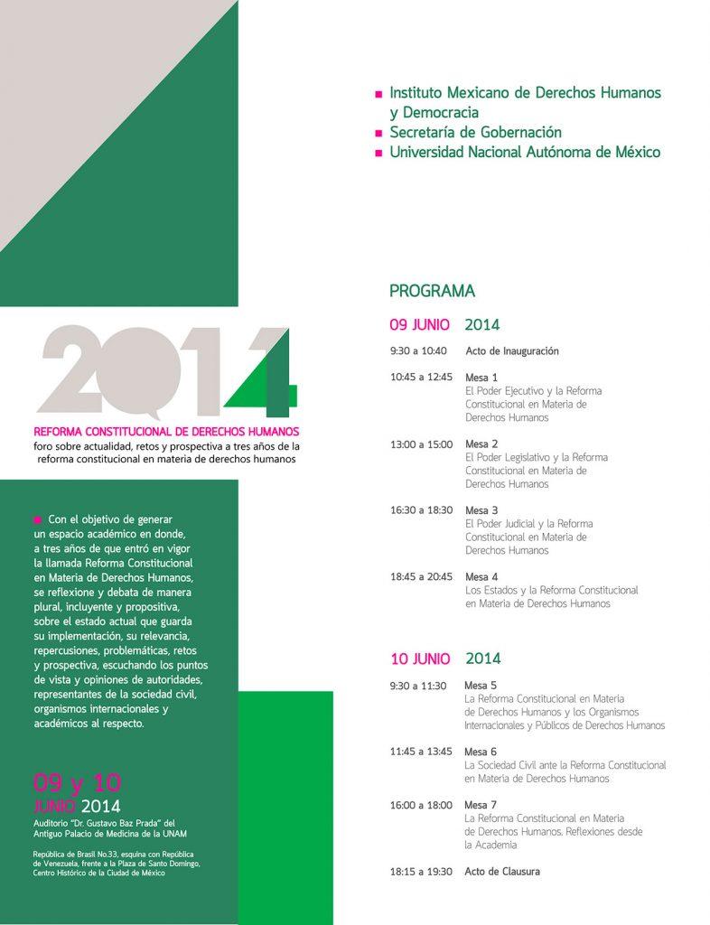 INVITACION FORO IMDHD-UNAM-SEGOB